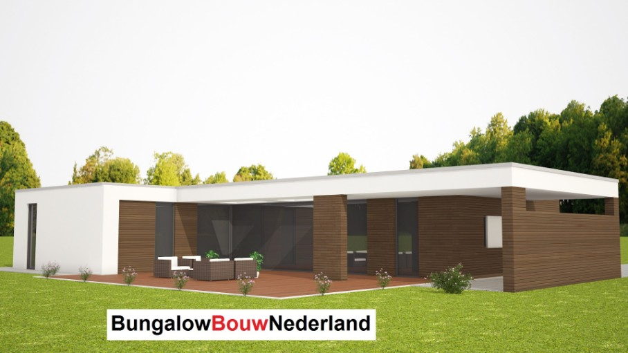 moderne bungalow betaalbare architectuur staalframe of houtskeletbouw type L68